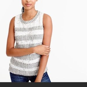 J crew fringe med m white lace grey tweed tank top